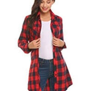 HOTOUCH Red Plaid Long Sleeve Checkered Shirt Top